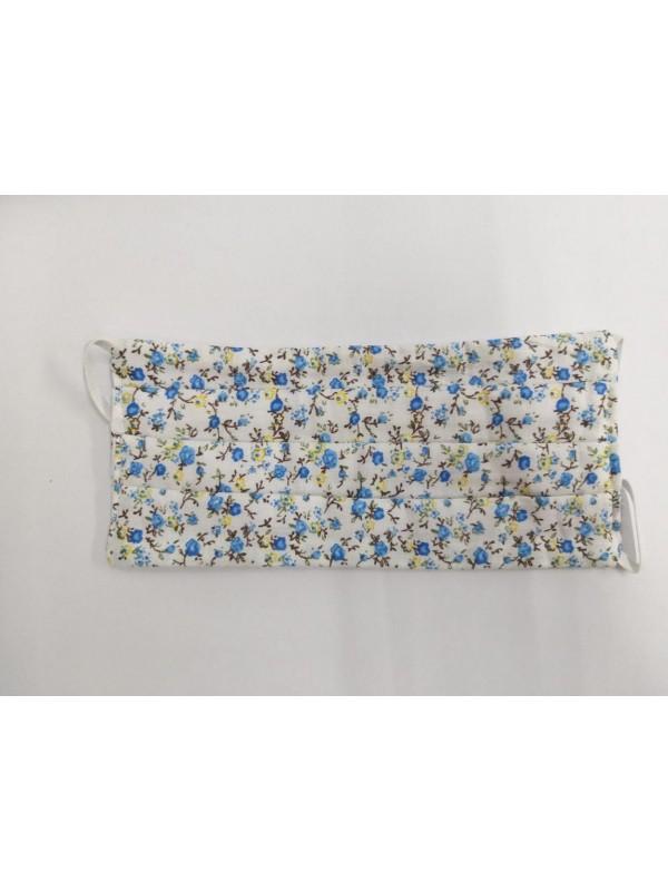Máscara de Tecido Floral Branco /Celeste