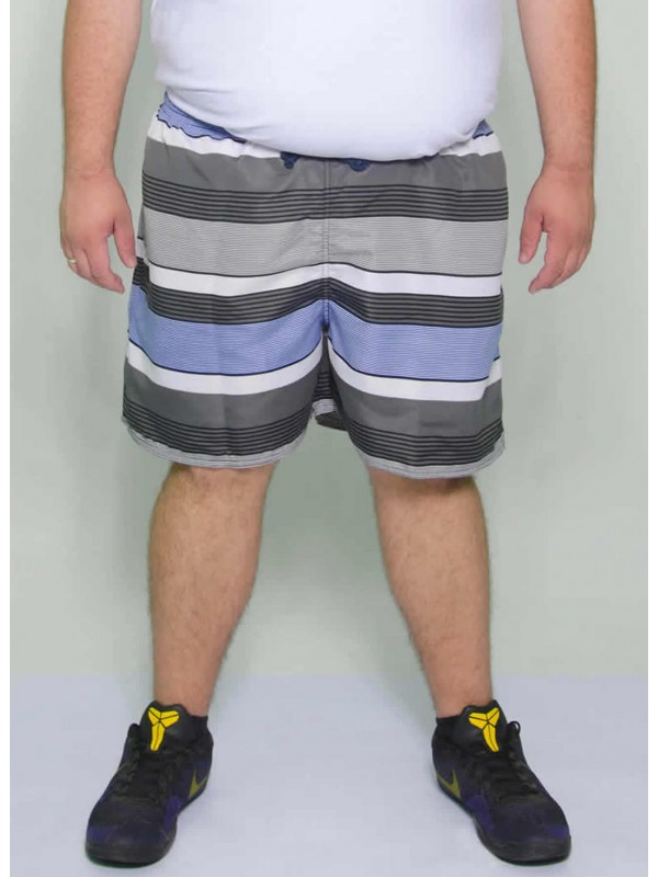 Shorts Tactel Listrado Azul