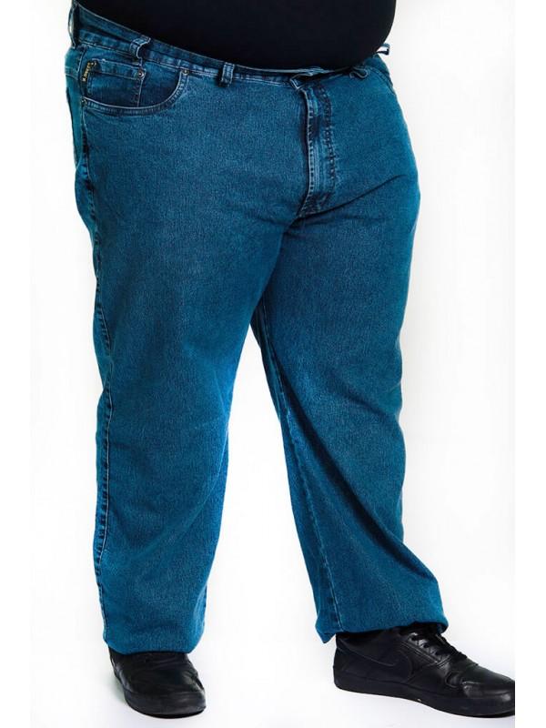 Calça Jeans com Elastano Plus Size  Azul Delavê
