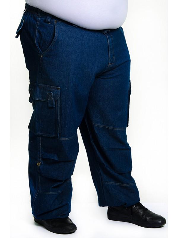 Calça Brim 1/2 cós de Elástico Jeans Tradicional