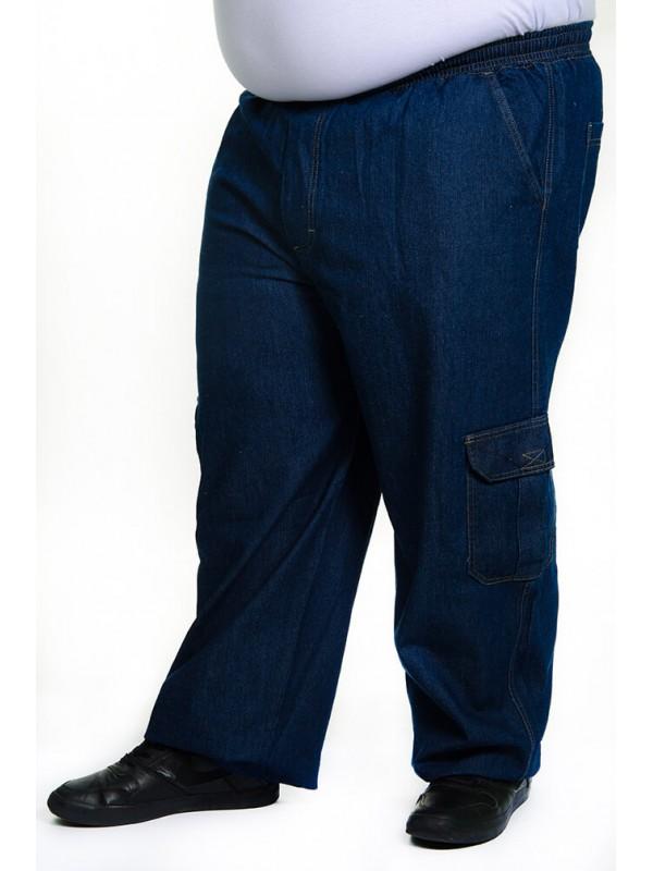 Calça Jeans Cargo com Elástico na Cintura Azul Tradicional