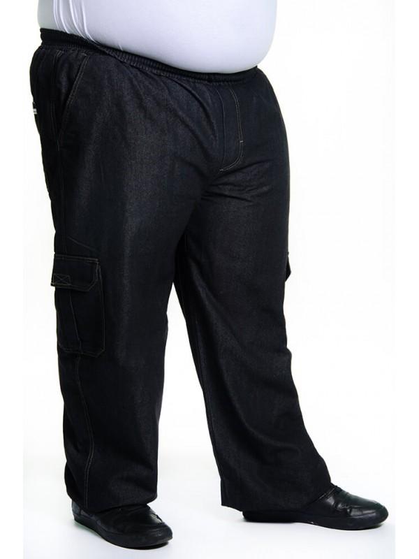 Calça Jeans Cargo com Elástico na Cintura Preta