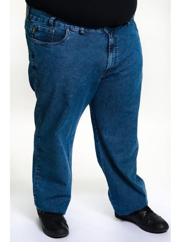 Calça Jeans com Elastano Plus Size  Azul Tradicional