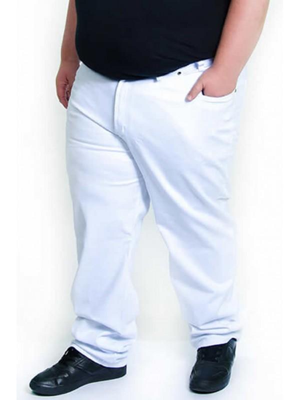 Calça Sarja com Elastano Plus Size Branca