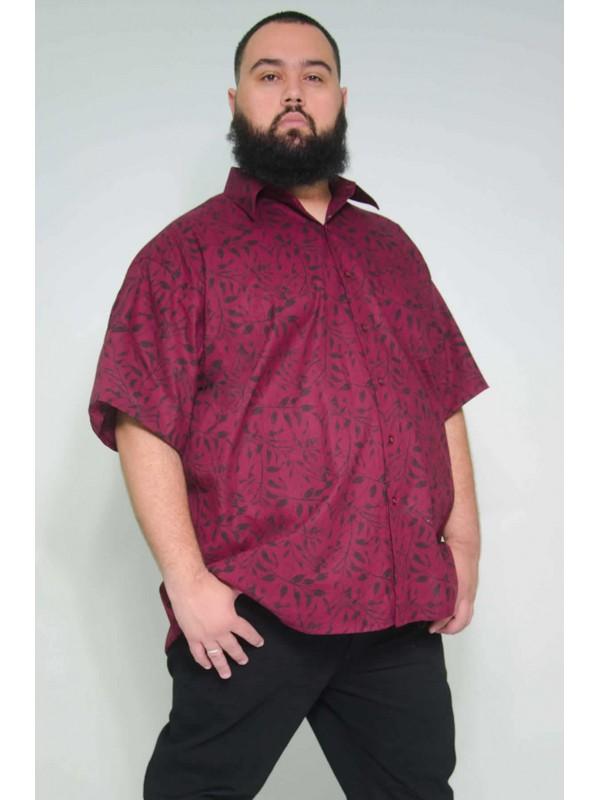 Camisa Social Manga Curta Plus Size Floral Bordo