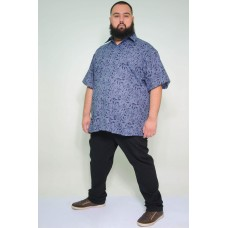 Camisa Social Manga Curta Plus Size Floral Azul
