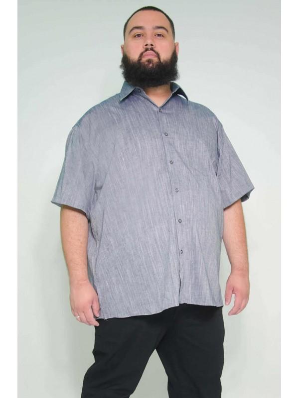 Camisa Social Manga Curta Plus Size Linho Azul
