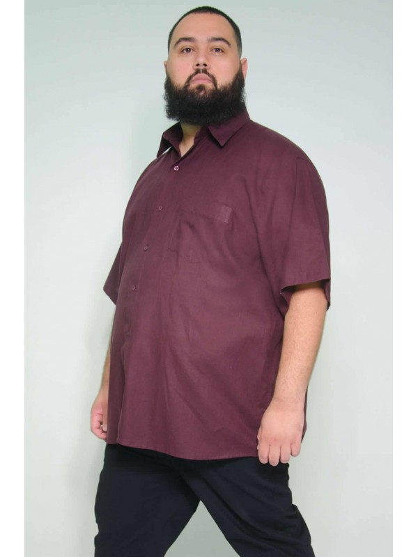 Camisa Social Manga Curta Plus Size Linho Bordo