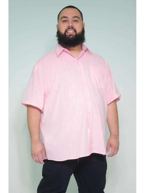 Camisa Social Manga Curta Plus Size Linho Rosa