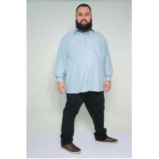 Camisa Social Manga Longa Plus Size Azul
