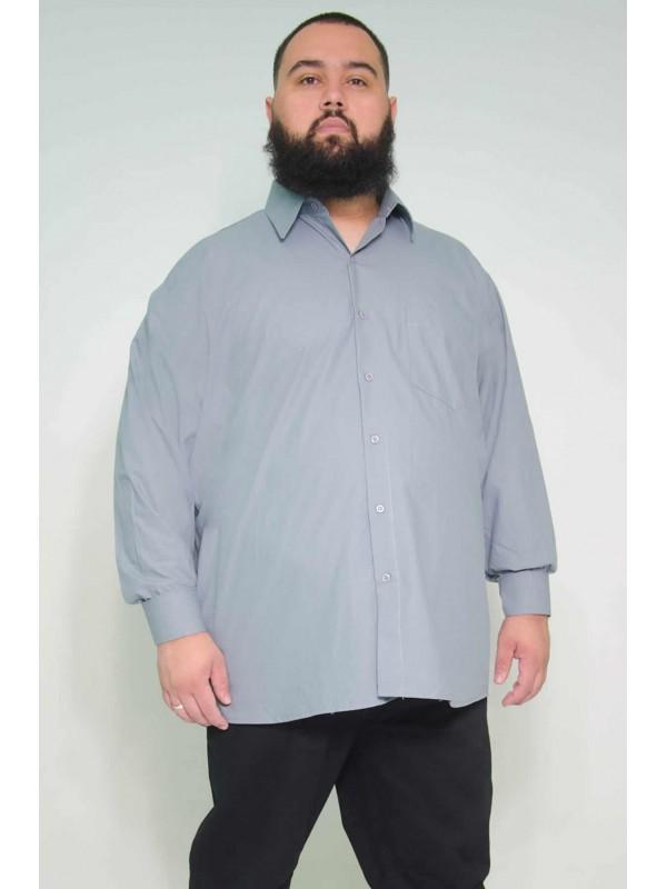 Camisa Social Manga Longa Plus Size Chumbo