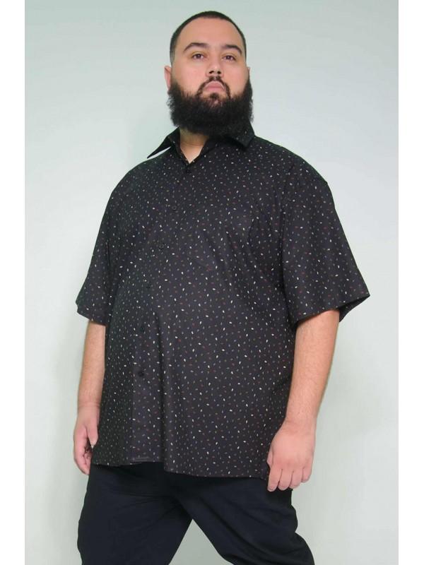 Camisa Social Manga Curta Plus Size Folhas Preta