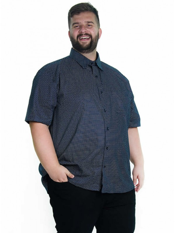Camisa Social Manga Curta Plus Size Poá Marinho