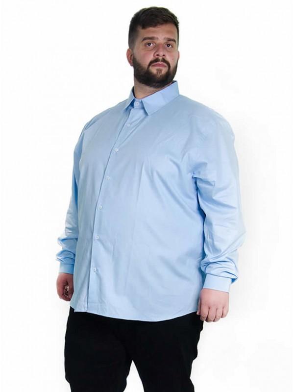 Camisa Social Manga Longa Plus Size Celeste