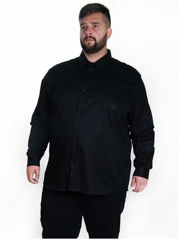 Camisa Social Manga Longa Plus Size Preta