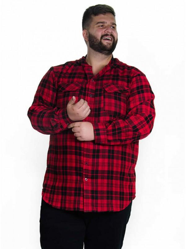Camisão de Flanela Plus Size Vermelho