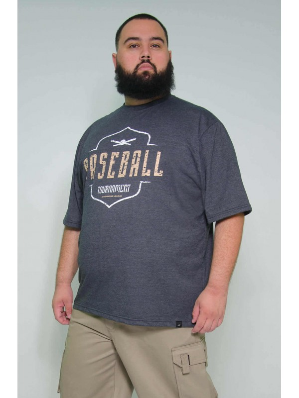 Camiseta Plus Size Baseball Grafite