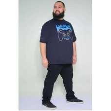 Camiseta Plus Size Gamer Marinho