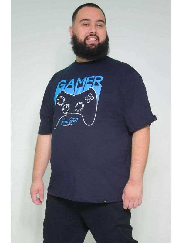 Camiseta Plus Size Gamer Marinho