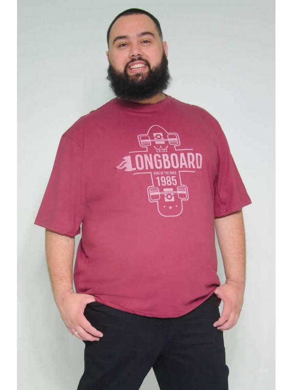 Camiseta Plus Size Longboard Bordo