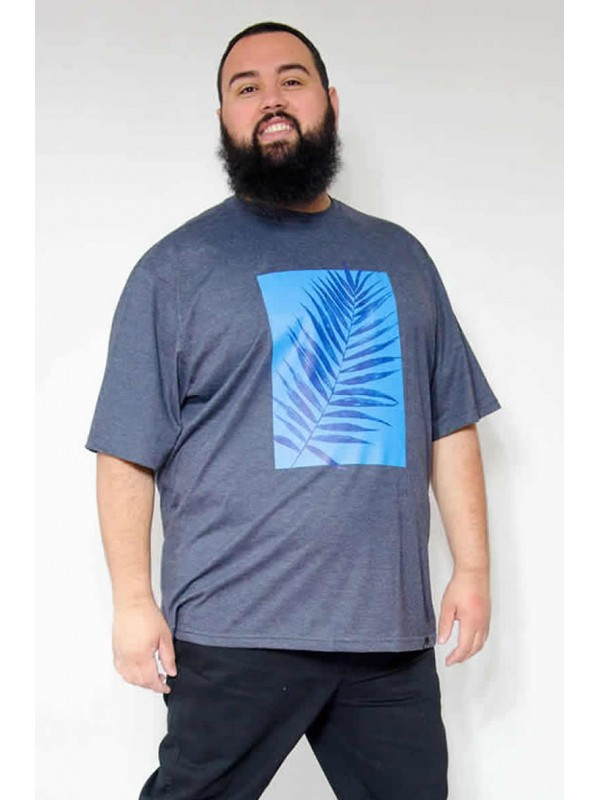 Camiseta Plus Size Folhagem Mescla Azul