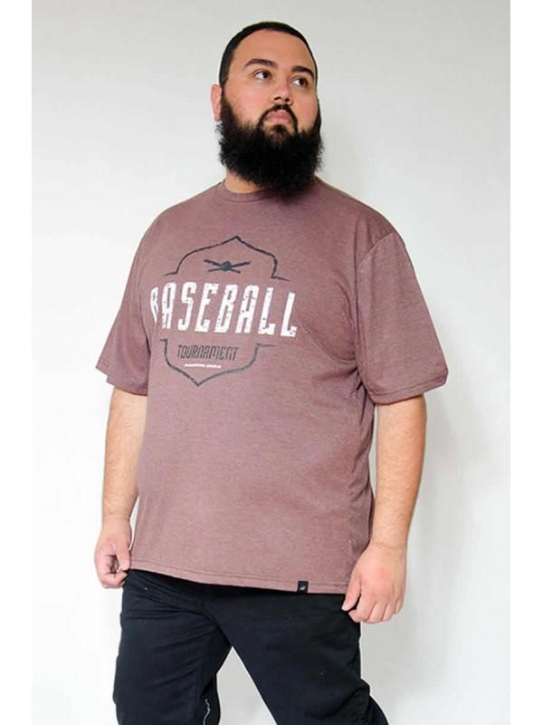 Camiseta Plus Size Baseball Mescla Café