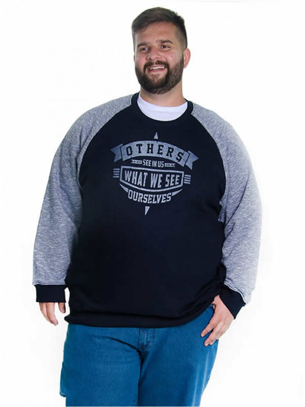 Blusão Moleton Plus Size Marinho