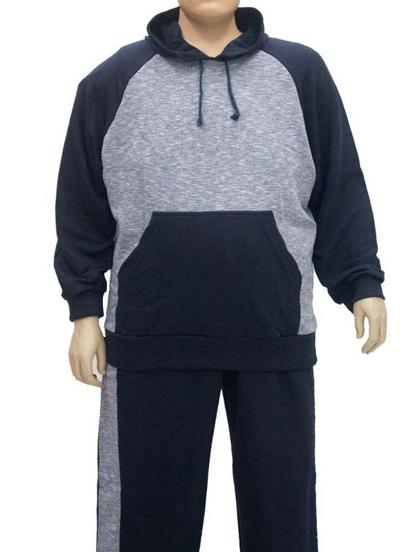 Blusão Moleton Canguru Plus Size Marinho
