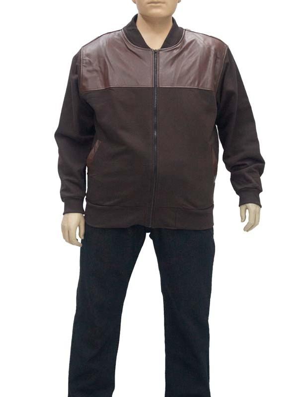 Blusão Moleton com Couro Plus Size Marrom