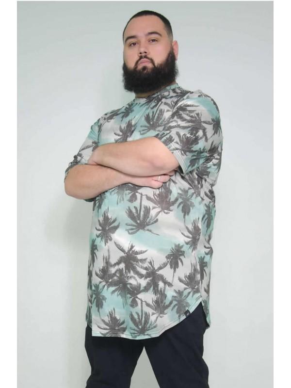 Camiseta Plus Size LongLine Coqueiro Jade