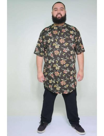 Camiseta Plus Size LongLine Flor Vermelha