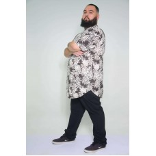 Camiseta Plus Size LongLine Folhagem Chumbo