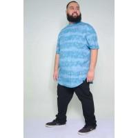 Camiseta Plus Size LongLine Tie Dye Turquesa