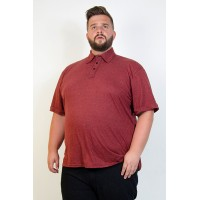 Camiseta Polo Plus Size Mesclada Bordô