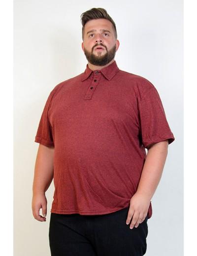 Camiseta Polo Plus Size Mesclada Bordô