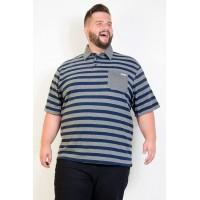 Camiseta Polo Plus Size Listrada Marinho