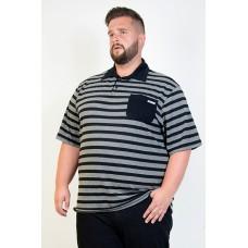 Camiseta Polo Plus Size Listrada Preta
