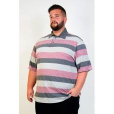 Camiseta Polo Plus Size Listrada Rosa