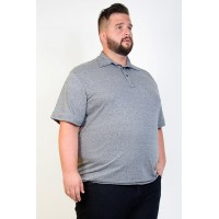 Camiseta Polo Plus Size Mesclada Chumbo