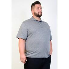 Camiseta Polo Plus Size Mesclada Chumbo