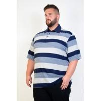 Camiseta Polo Plus Size Listrada Azul
