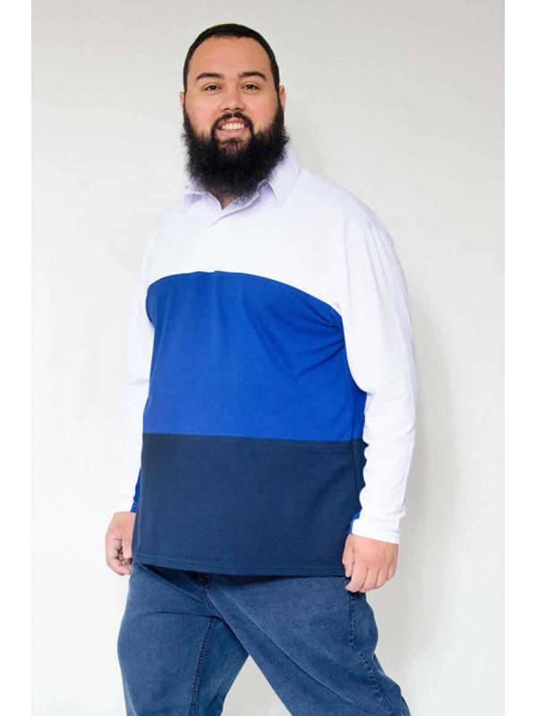 Camiseta Polo com Recortes Plus Size Azul