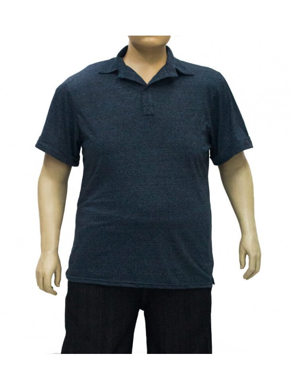 Camiseta Polo Plus Size Mesclada Petroleo