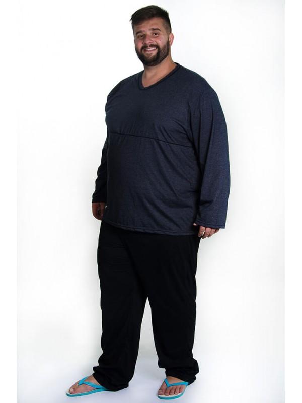 Pijama de Inverno Plus Size Preto