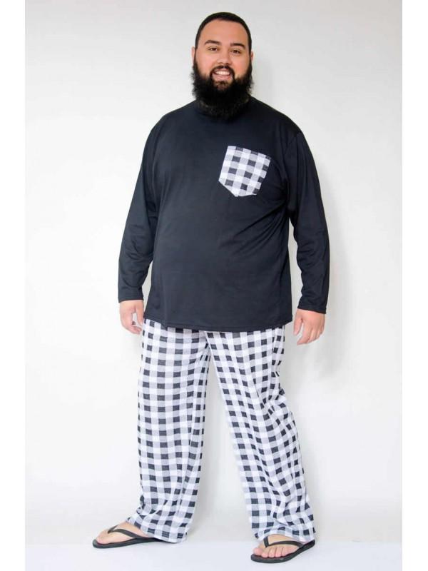 Pijama Xadrez Plus Size Branco