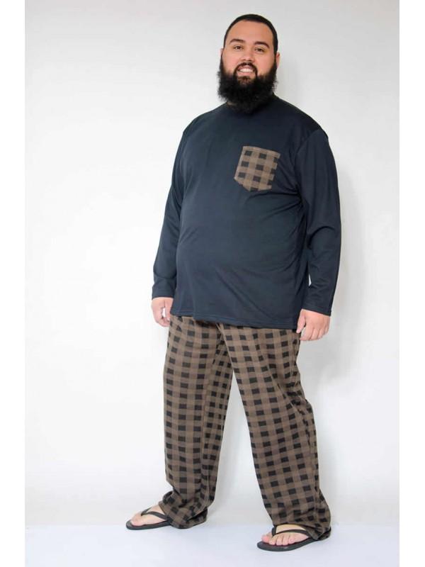 Pijama Xadrez Plus Size Marrom