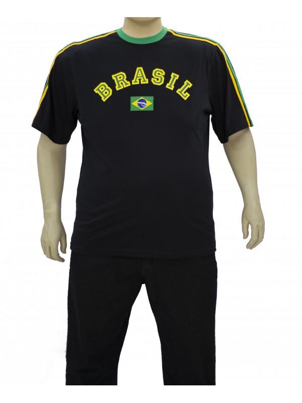 Camiseta Brasil Plus Size Preta