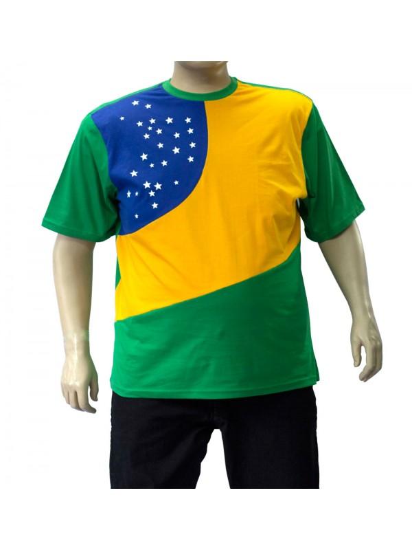 Camiseta Brasil Plus Size Bandeira Estrela Verde
