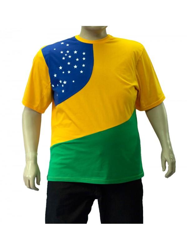 Camiseta Brasil Plus Size Bandeira Estrela Amarela