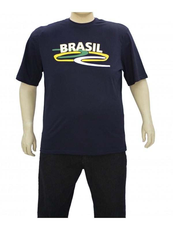 Camiseta Brasil Plus Size Marinho